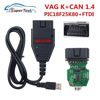 Para VAG K + puede comandante 1,4 con FTDI FT232RQ VGA K puede 1,4 VAGTacho 3,01 OBD2 Cable USB para Opel airbag immo para Audi/para Skoda