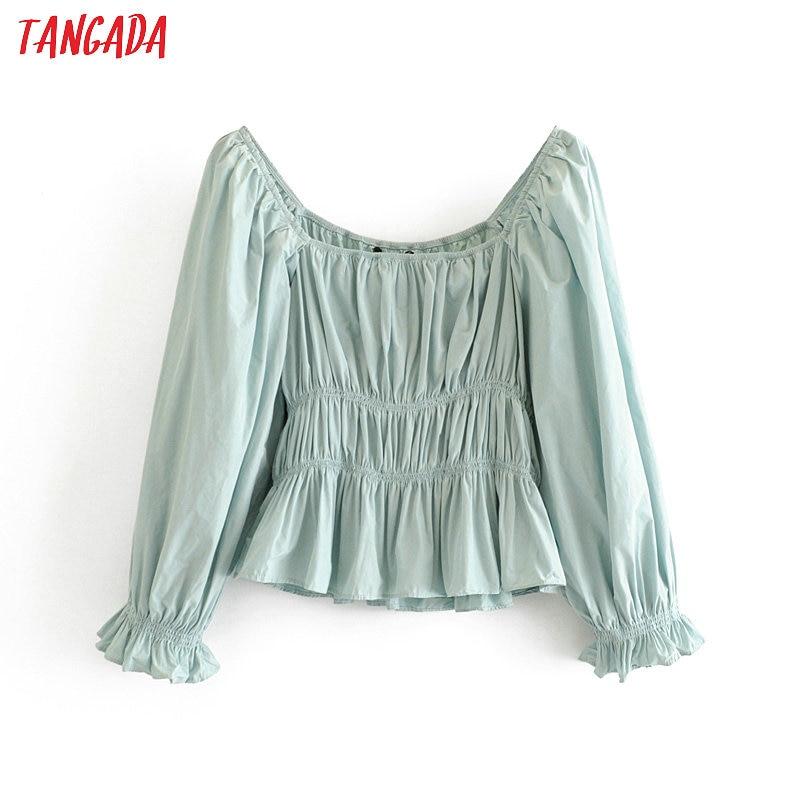 Tangada Women Retro Solid Strethy Blouse Long Sleeve Chic 2020 Fashion Female Casual Crop Shirt Tops 3H256