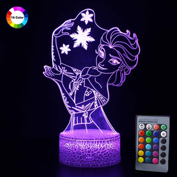 Colorful 3D Lamp Illusion Flash Night Light Remote Control Frozen Princess Aisha LED Night Table Lamp Decorative Girl's Bedroom