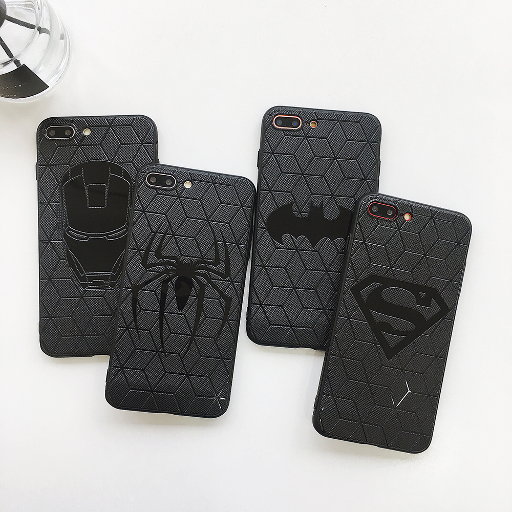 <font><b>Marvel</b></font> Avengers Captain America Ironman Spiderman Fall für <font><b>iPhone</b></font> 11 pro X Xs Max Xr 8 7 6 S Plus superhero 3D Relief Weiche Abdeckung image