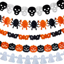 Colorful paper garland Banner Halloween party Flag pumpkin ghost spider bat Pennants decoration flags
