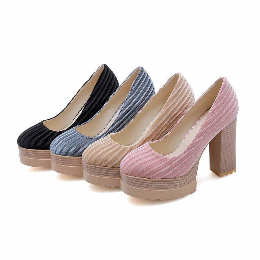 ESVEVA 2019 kadın pompaları kare yüksek topuk sivri burun çizgili ayakkabı akın + PU kayma batı tarzı platformu 2.5cm boyutu 34-41