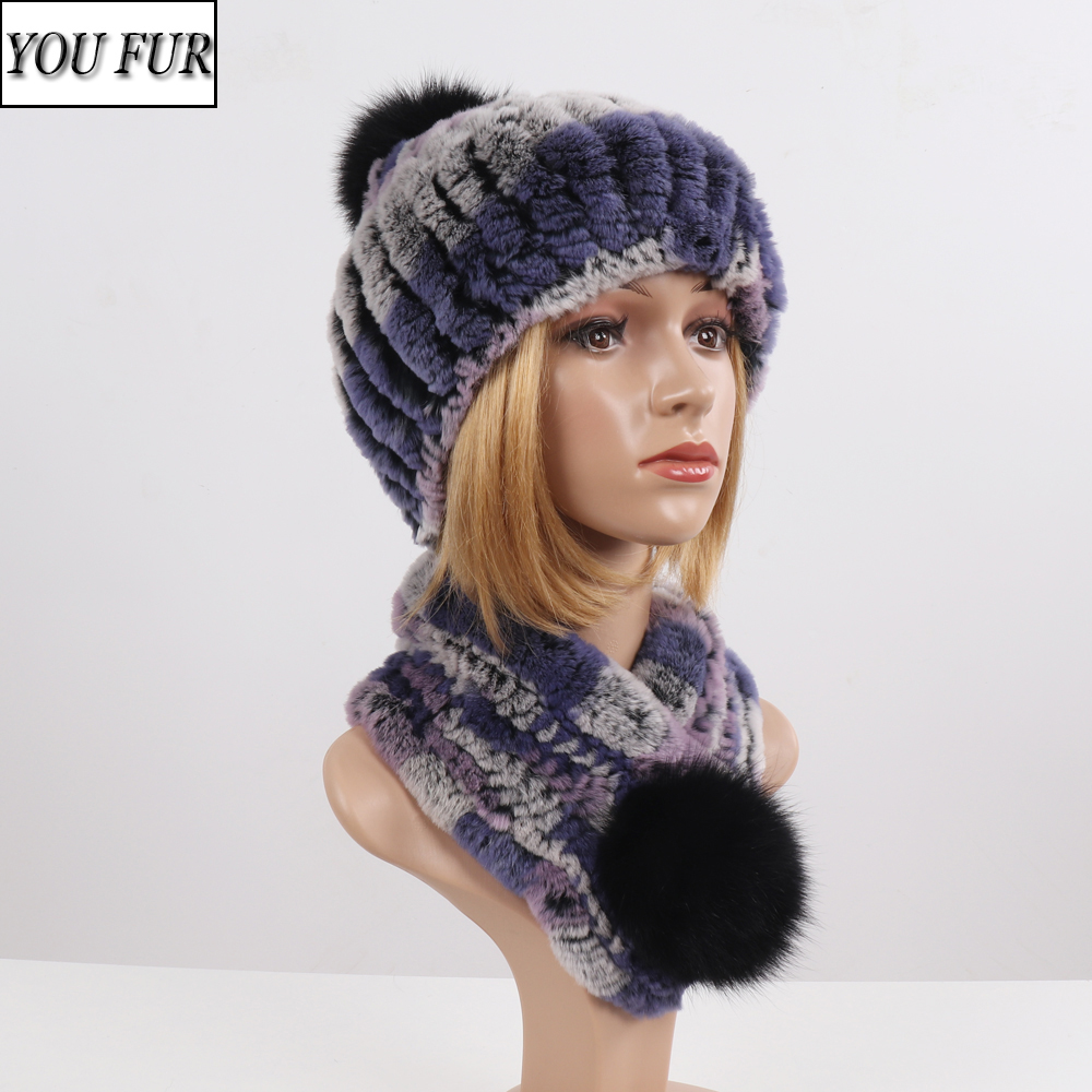 Newest Good Elastic Knitted Rex Rabbit Fur Beanies Collars With Fox Pomom Genuine Fur Winter Lady Cap Real Fur Hat Scarf Sets