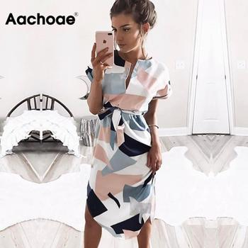 Aachoae 2020 Women Midi Party Dresses Geometric Print Summer Boho Beach Dress Loose Batwing Sleeve Dress Vestidos Plus Size 1