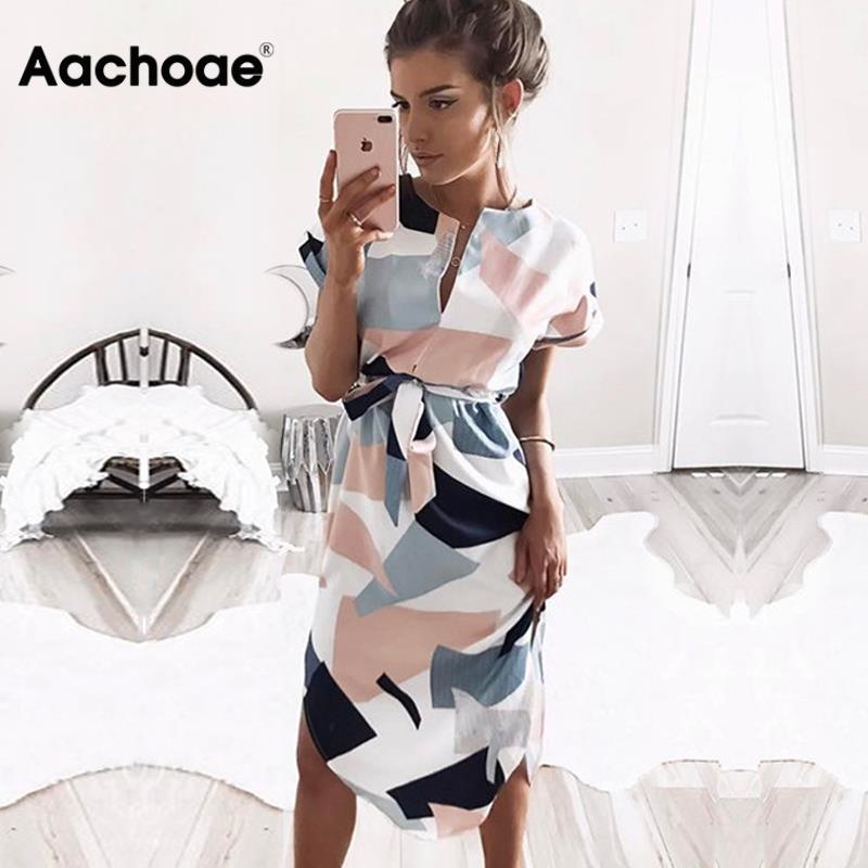 Aachoae 2020 Women Midi Party Dresses Geometric Print Summer Boho Beach Dress Loose Batwing Sleeve Dress Vestidos Plus Size(China)