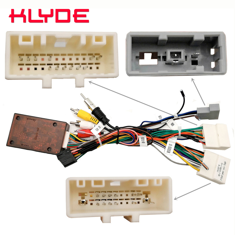 KLYDE Car Stereo Radio Wire Power Harness Adapter With Canbus Decoder For Nissan Qashqai X-Trail Car With 360 Camera Or Bose