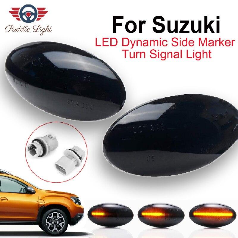 2x dinamik LED yan işaretleyici ışık sinyal Blinker Suzuki Jimny Swift Grand Vitara SX4 s-çapraz Splash Opel fiat Sedici için APV XL7