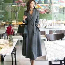 купить 2019 Autumn New Korean Version of The Temperament Suit Collar Tie with Waist Waist High-end Long Suit Trench Coat Woman по цене 2437.21 рублей