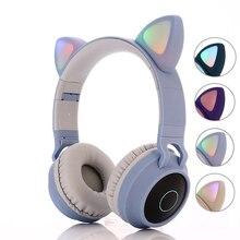 Enfants Bluetooth 5.0 casque lumière LED oreilles de chat casque sans fil écouteur HIFI stéréo basse casque pour téléphones avec microphone