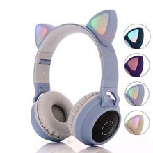 Kids Bluetooth 5.0 Headphones LED light Cat Ears Headset Wireless Earphone HIFI Stereo Bass headphone for Phones with microphone