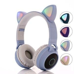 Image 1 - Kinder Bluetooth 5,0 Kopfhörer LED licht Katze Ohren Headset Drahtlose Kopfhörer HIFI Stereo Bass kopfhörer für Handys mit mikrofon
