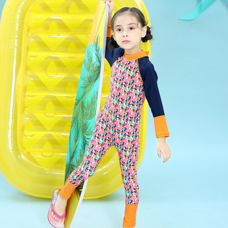 New Style KID'S Swimwear Long Sleeve Sun-resistant Quick-Dry Girls One-piece Swimsuit Big Boy Diving Suit Bathing Suit
