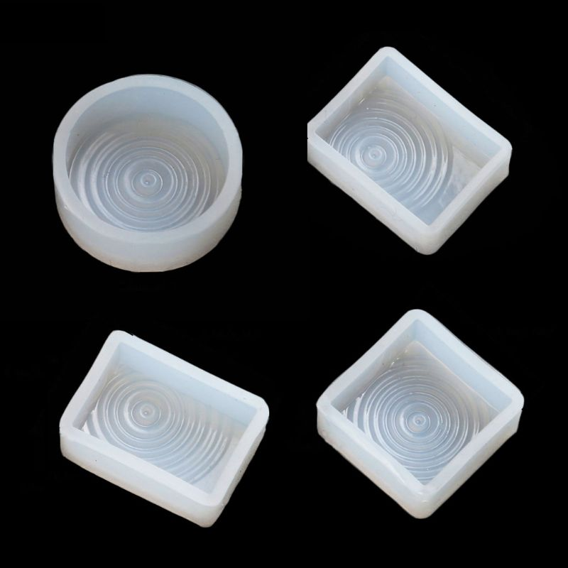 4Pcs DIY Water Ripple Clear Silicone Molds Water Wave Pendant Casting Molds