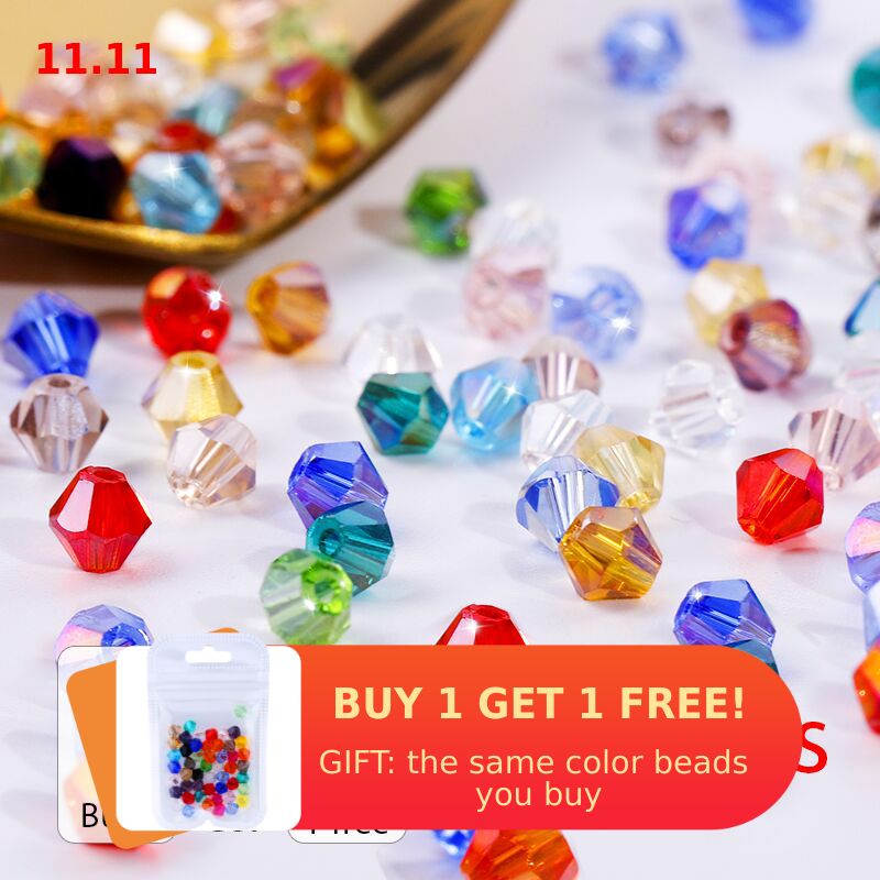 Buy 1 and get 1 free 4mm shiny Crystal beads Bicone Beads Glass Beads Loose Spacer Beads for bracelet DIY Jewelry Making  200pcs