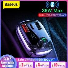Baseus سريعة تهمة 4.0 شاحن سيارة للهاتف FM الارسال بلوتوث سيارة عدة الصوت مشغل MP3 سريع المزدوج USB سيارة شاحن الهاتف