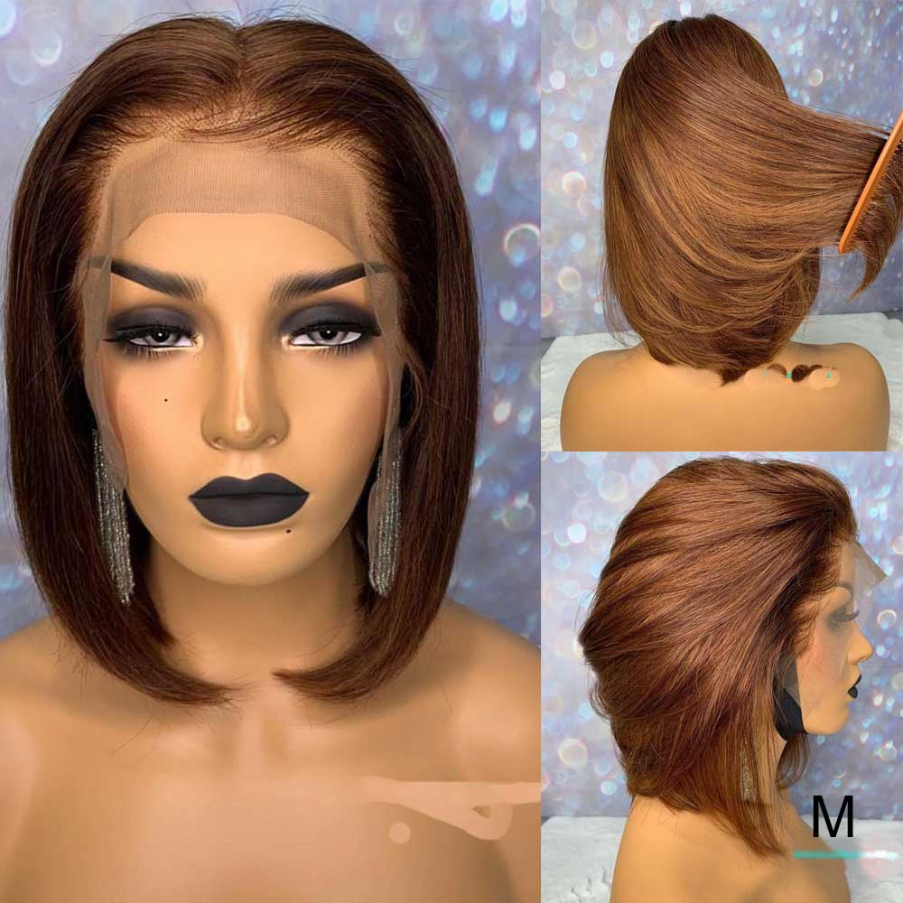 Short Blunt Cut Bob 13X6 Lace Front Human Hair Wig Remy Straight Brown Colored HD Transparent Invisible Lace Wig 150 Density