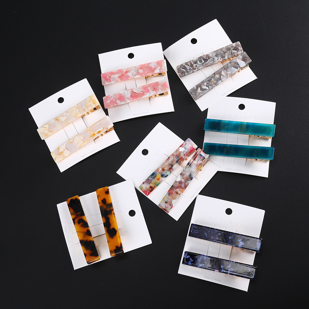 Haimeikang 2PCS/Set New Fashion Geometric Hair Clips Metal Leopard Dots Hairpins For Women Hair Accessories