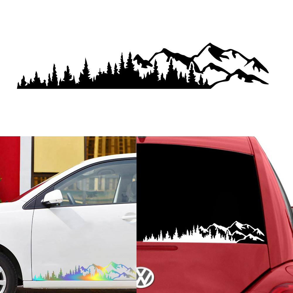 Funny Car Stickers Of Mountain And Tree For Car Rearview Mirror Decal Sticker Auto Body Styling Stickers For Car Decoration