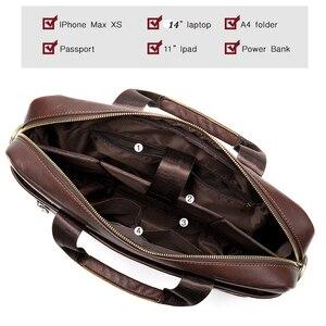 Image 4 - WESTAL Bolsa de mensajero de cuero genuino para hombre, bolso de oficina para ordenador portátil, de diseño de negocios, de cuero