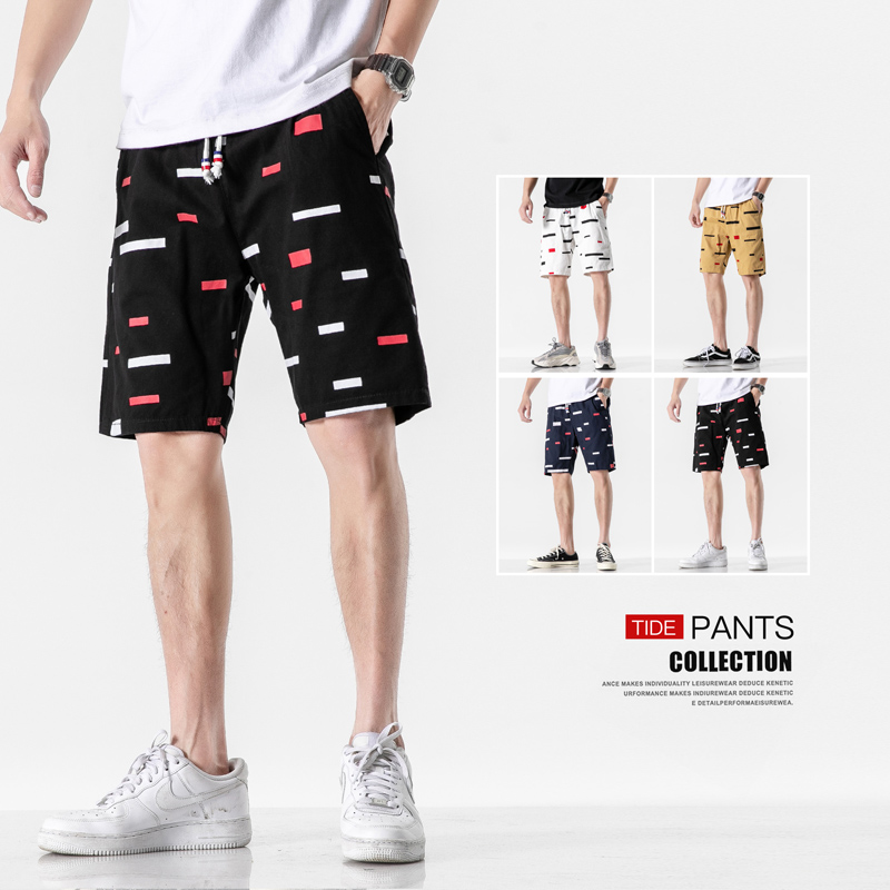 Summer Fashion Casual Printed Shorts Beach Board Half Pants Outwear Cotton Drawstring Printing Short Pants Men Plus Size L-5XL