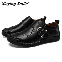 2020 Genuine Leather Men Casual Shoes Luxury Brand Mens Loafers Moccasins Breathable Slip on Black Driving Shoes Plus Size 38 48