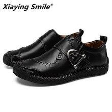 2020 עור אמיתי גברים נעליים יומיומיות יוקרה מותג Mens ופרס מוקסינים לנשימה להחליק על שחור נהיגה נעליים בתוספת גודל 38 48