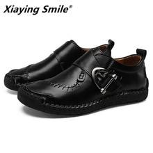 2020 جلد أصلي للرجال حذاء كاجوال فاخر ماركة رجل المتسكعون الأخفاف تنفس الانزلاق على أحذية قيادة سوداء حجم كبير 38 48