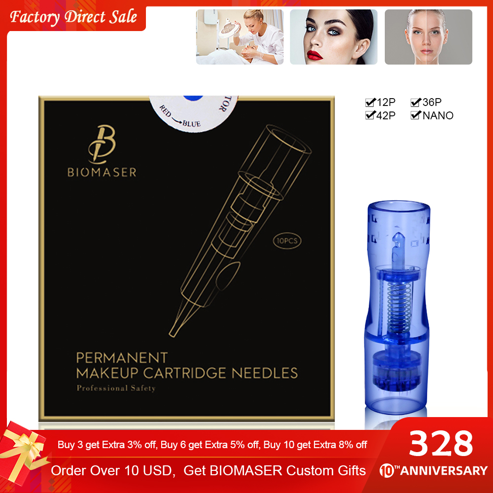 BIOMASER MTS Microneedles Permanent Makeup Tattoo Needle Cartridge Mesotherapy 12/36/42 Pins For Tattoo Machine Nano Agujas