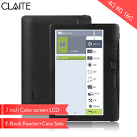 CLIATE 4G8G/16G LCD 7 inch Ebook reader Color screen smart with HD resolution digital E book Video MP3 music player