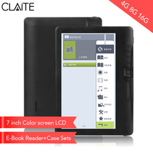 CLIATE 4G8G/16G LCD 7 inch Ebook reader Color screen smart with HD resolution digital E-book Video MP3 music player(China)
