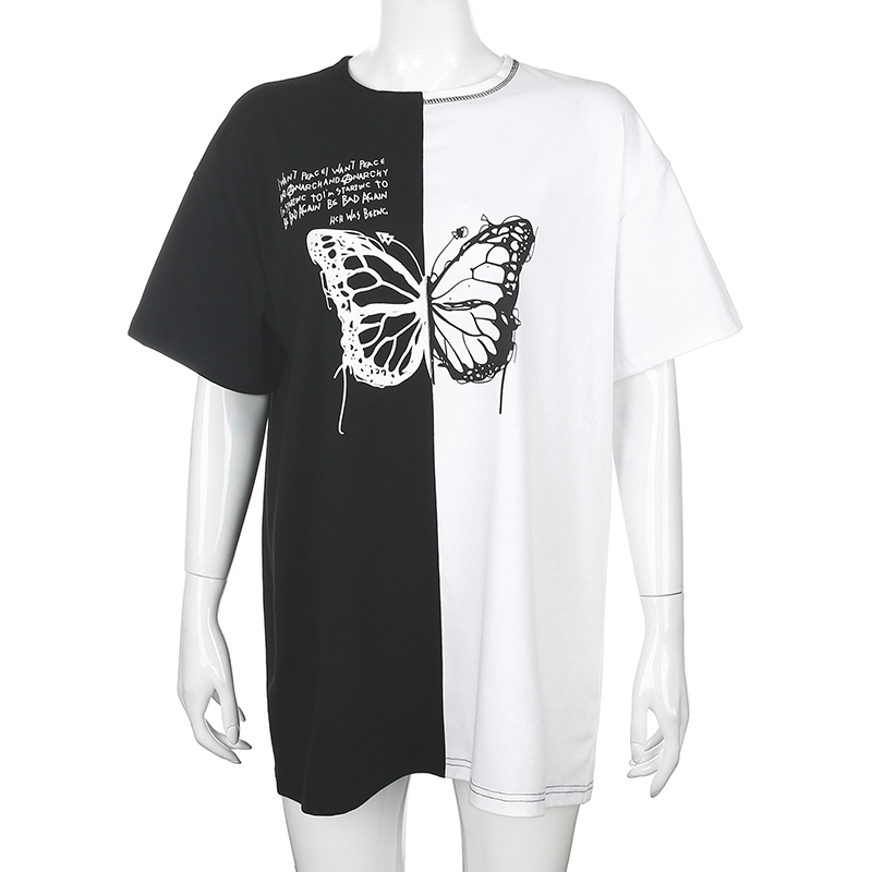 Rockmore Tshirts Women Short-Sleeve Streetwear Butterfly Print Contrast-Color Plus-Size