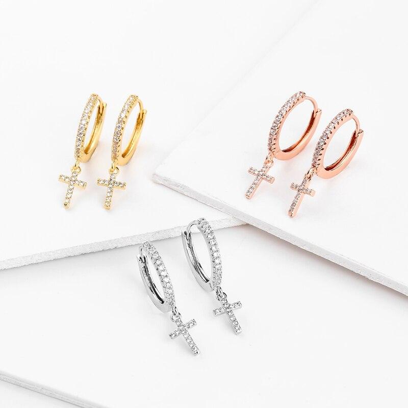 New Fashion Cute Cross Earrings Top Quality Cz Crystal cross hoop Earrings For Women Korean Wedding Jewellery