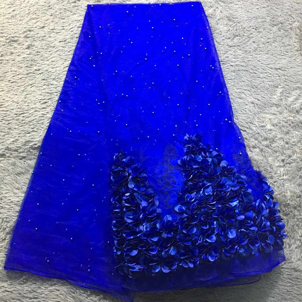 African Lace Fabric 2019 High Quality Lace Royal Blue Nigerian Lace Fabrics for Women French Beaded 3D Lace Fabric M23631