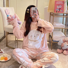 Pajama Velvet Home-Clothes Woman Warm Winter And 2pcs Student Flannel Coral Female-Set
