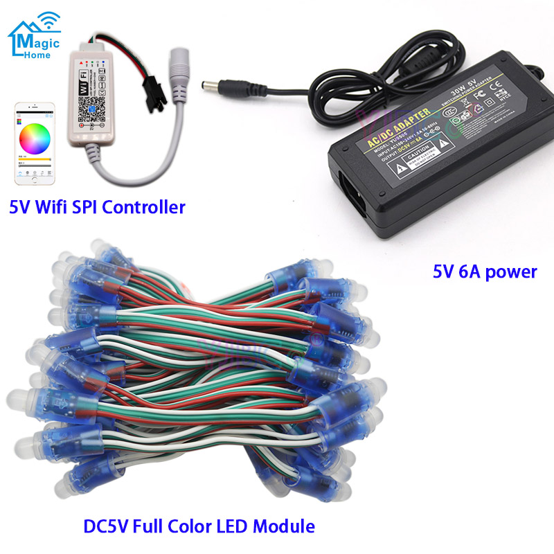 DC5V 50 Pcs WS2811 IC RGB Pixel LED Module Light Full Color IP67 ,Wifi LED SPI Controller,5V 6A Led Power Supply Charger Adapter