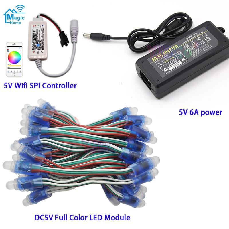 DC5V 50 Pcs WS2811 IC RGB Pixel LED Module Light Full Color IP67 ,Wifi LED SPI Controller,5V 6A led power Supply Charger Adapter