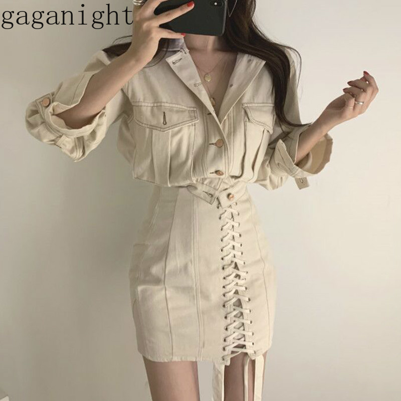 Gaganight Vintage Short Women Cargo Jacket Fashion Coat Spring Autumn Solid Bandage Cool Girls High Waist Mini Short Skirt