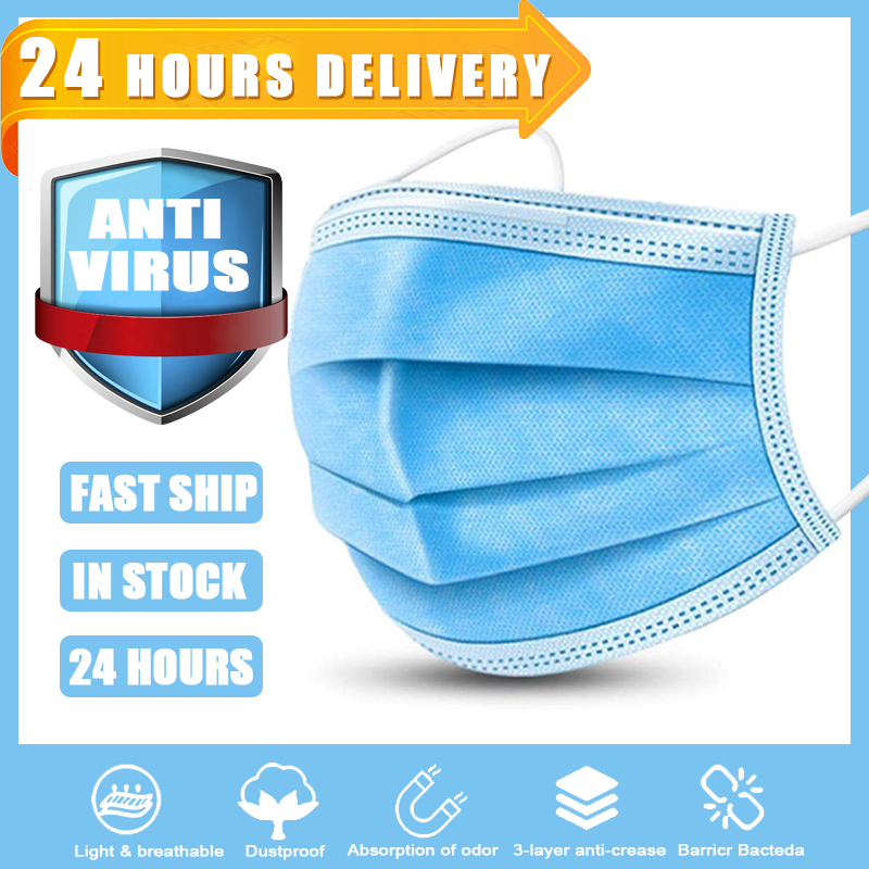 In Stock ! 10/20/30/40/50 PCS Disposable Face Mask 3 Layers Non-woven Earloop Anti Fog Dust Mouth Mask Fast Shipping Face Masks