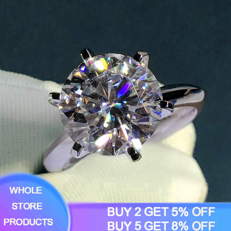95% OFF! Luxury 2 Carat CZ Gemstone Ring Silver 925 Jewelry Real 18K White Gold Wedding Band Women Anniversary Gift Bridal Ring