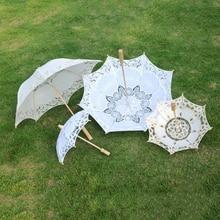 Bride Wedding Lace Umbrella 2021 Pure White Embroidered European Style Wooden Handle Wedding Props Wedding Decoration Umbrella