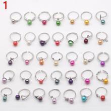 925 пробы кольцо с прорезями крепления для ребенка от 6 до 8 мм жемчуг поделки жемчуг кольцо с регулируемым размером случайный смешанный 10/30/50 шт сумка N117