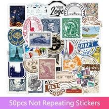 50pcs Vintage Stamp Collection Series Diary Decoration Sticker Scrapbook Sticker Label Diary Album Stationery Sticker