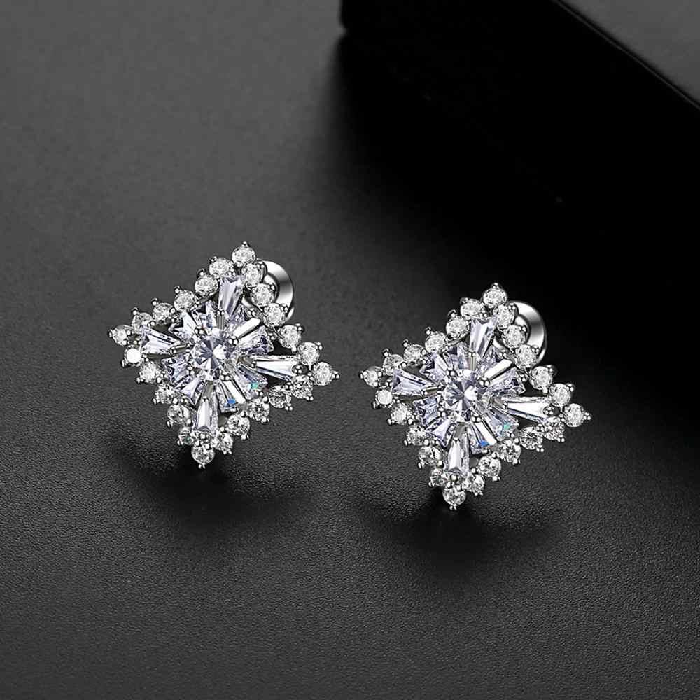 Luoteemi Desain Indah Square Stud Anting-Anting untuk Wanita Pengantin Pernikahan Berkualitas Tinggi Kubik Zircon Fashion Perhiasan Hadiah Brincos
