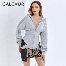 Galcaur patchwork gray sexy sweatshirt for women hooded long