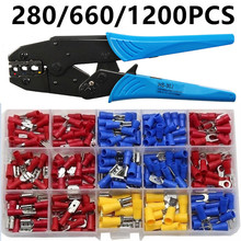 280/660/1200PCS Insulated Cable Connector Electrical Wire Assorted Crimp Spade Butt Ring Fork Set Ring Lugs Rolled Terminals Kit