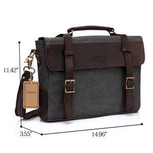 Image 2 - VASCHY Men Vintage Briefcase Genuine Leather Canvas Messenger Bag for Men Business Shoulder Bag Fits 14 inch Laptop Handbag