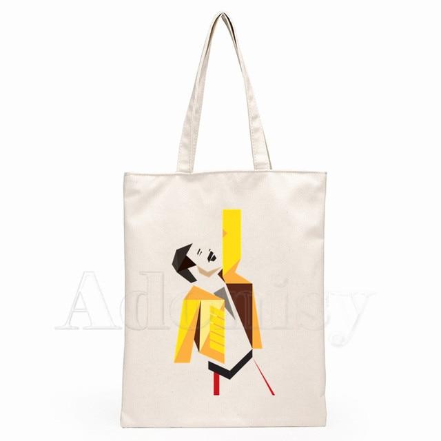 The Queen Band Freddie Mercury Print Reusable Shopping Bag Women Canvas Tote Bags Printing Eco Bag Cartoon Shopper Shoulder Bags 2