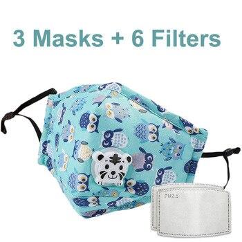 3 PCS Del Fumetto PM2.5 Bambini Maschera Maschera Con 6 Filtri Respiro Bocca Valvola Viso Maschera Per Bambini Lavabile Maschera Maschera di Polvere a prova di sterile In Magazzino 16