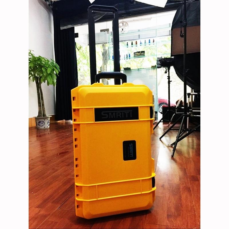 Waterdichte trolley koffer gereedschapskoffer Beschermende camerakoffer apparatuurdoos met voorgesneden schuim verzending gratis 510 * 290 * 195 mm
