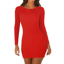 Ribbed Knitted Sexy Bodycon Mini Dress Women Casual O Neck Long Sleeve Autumn Winter Slim Red Party Dress Vestidos New Arrival ebizza vintage knitted women two piece sets dresses autumn winter bodycon long sleeve dress o neck slim office party outwear new